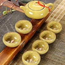 Ấm chén trà ngọc hình cá 3D