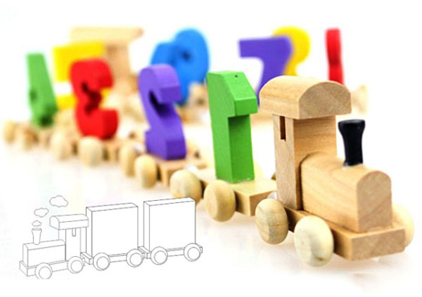 Bán sỉ đoàn tàu gỗ chở số cho bé vui học