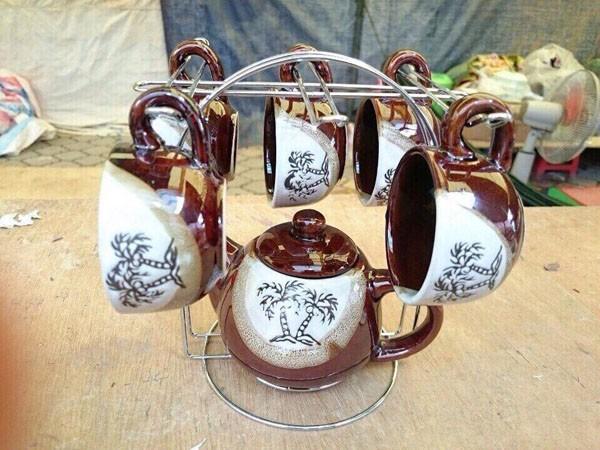 Bộ bình tách trà Coffee Set bằng gốm sứ