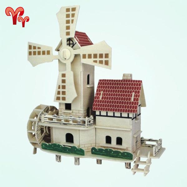 Đồ chơi lắp ghép gỗ mô hình cối xay gió