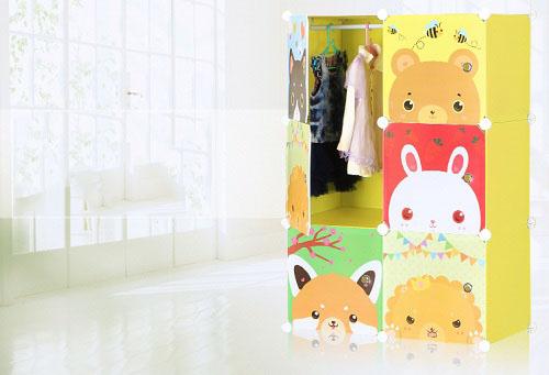 Tủ nhựa lắp ghép 6 ô màu chuối cửa hình thú 107 x 72 x 47 cm