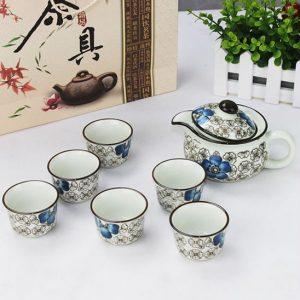 Bộ ấm trà hoa văn cổ hàng xuất Nhật
