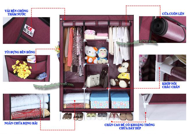 Tủ vải cao cấp 8 ngăn 3 buồng tiện dụng