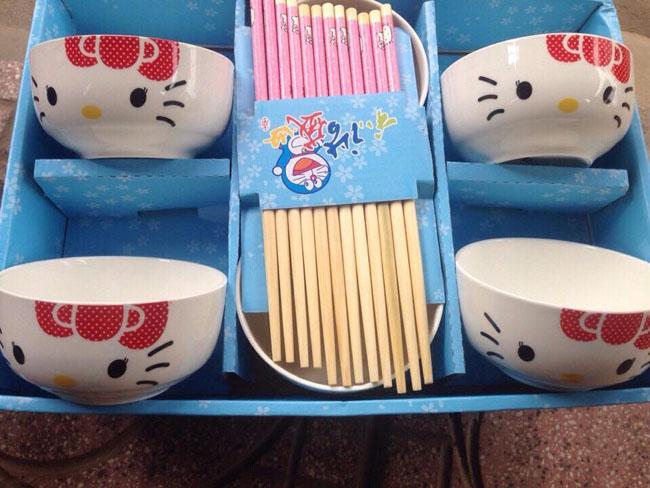 Bán sỉ bộ 6 bát đũa Hello Kitty xuất Nhật