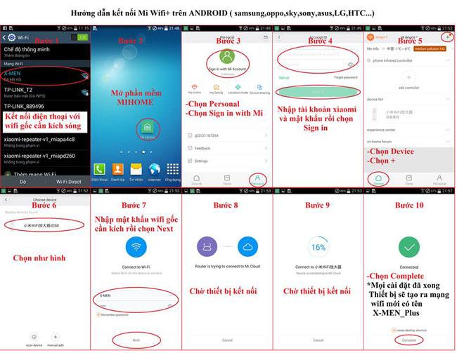 Cài đặt bộ kích sóng wifi Xiaomi Repeater trên android