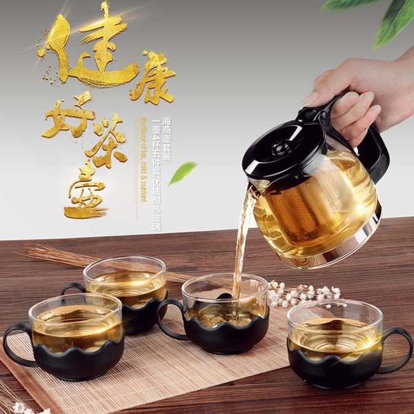 Bộ ấm pha trà thủy tinh có lưới lọc cao cấp