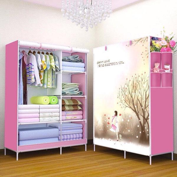 154k - Tủ vải quần áo  2 BUỒNG 6 NGĂN giá sỉ và lẻ rẻ nhất