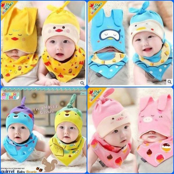 Bộ mũ yếm cotton đáng yêu cho bé