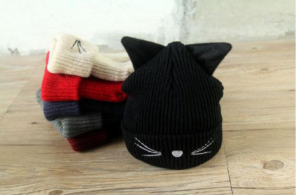 Mũ len tai mèo đẹp cho nữ