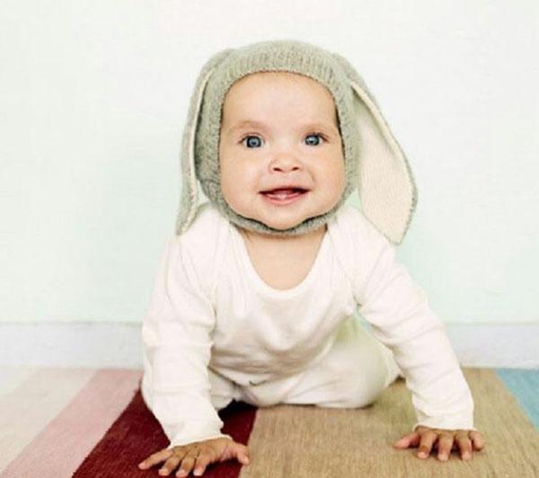 Nón len tai thỏ ấm áp cho bé