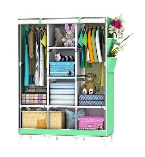 Tủ vải đựng quần áo 3d 3 buồng 8 ngăn mẫu mới