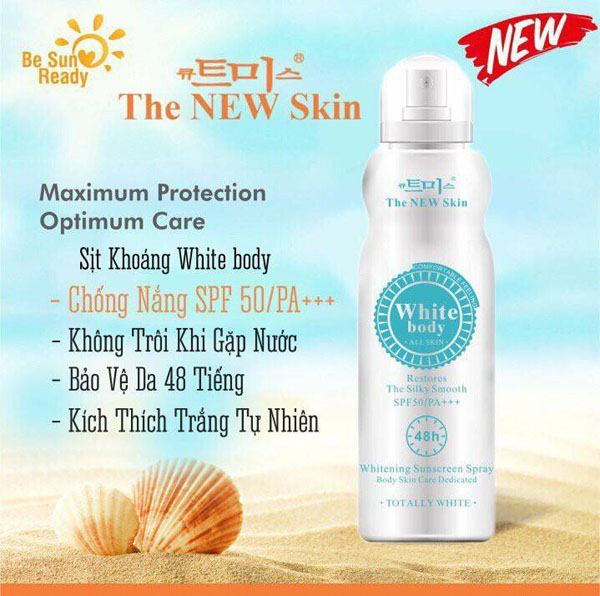 Xịt dưỡng da chống nắng White Body The New Skin 48h