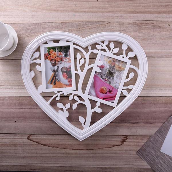 Khung ảnh hình trái tim màu trắng tường