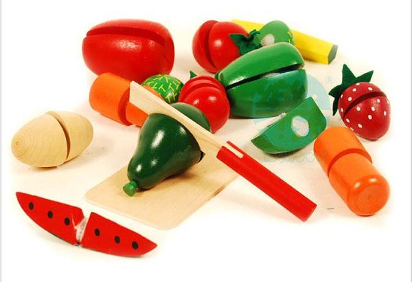 Bán buôn bộ đồ chơi cắt hoa quả bằng gỗ cho bé