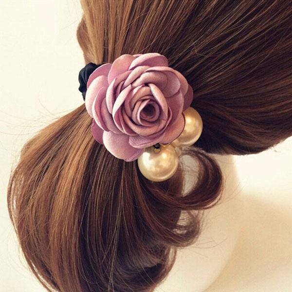 Dây cột tóc hoa hồng ngọc trai quý phái