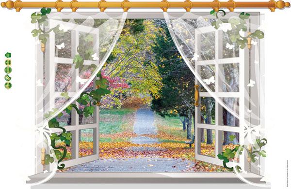 Decal dán tường 3d hình cửa sổ