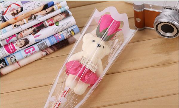 Bán buôn hoa hồng sáp 1 bông có gấu