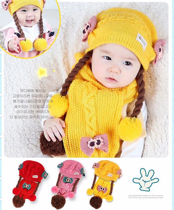 Bán sỉ mũ len dệt kim cho bé phong cách Hàn Quốc