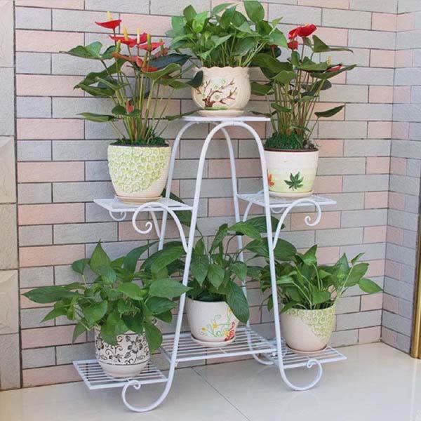 Kệ sắt để chậu hoa , cây cảnh – 4 tầng 6 chậu