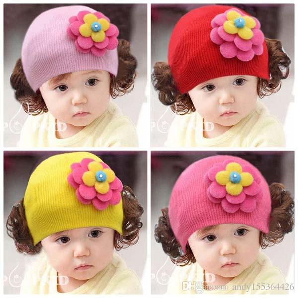 Mũ len tóc giả đáng yêu cho bé