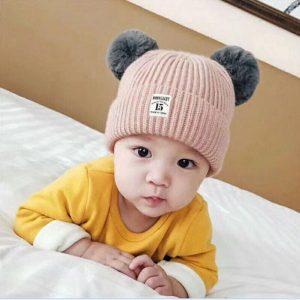 Bán buôn mũ nồi len dệt kim xinh xinh cho bé