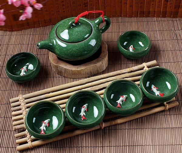 Bộ ấm trà 3d hình cá xanh ngọc cao cấp