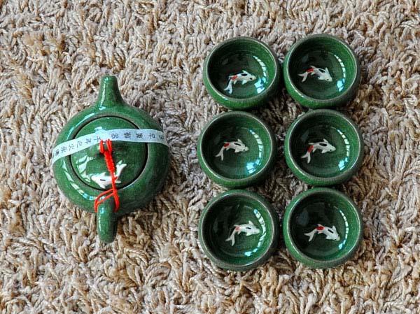 Bán sỉ bộ ấm trà 3d hình cá xanh ngọc cao cấp
