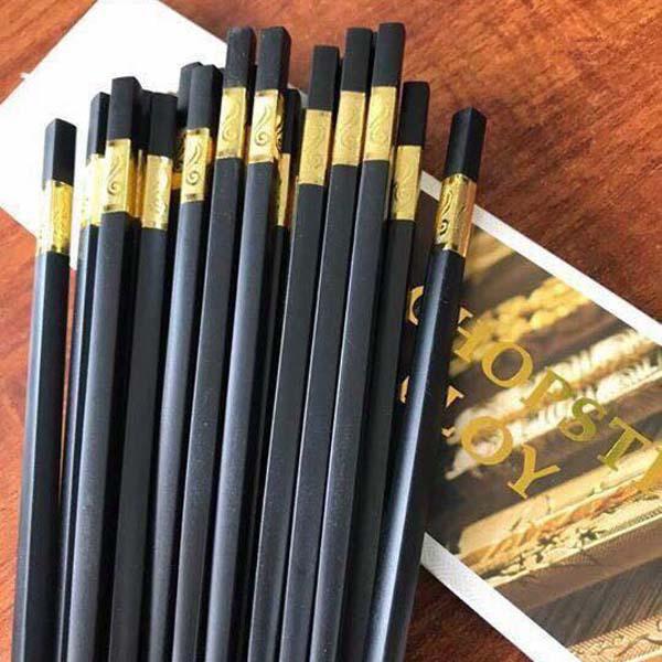 Bán buôn bộ 10 đôi đũa ăn hợp kim đầu bọc vàng