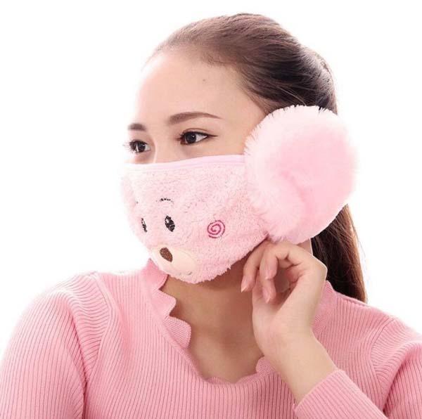 Khẩu trang bịt tai hình gấu dễ thương