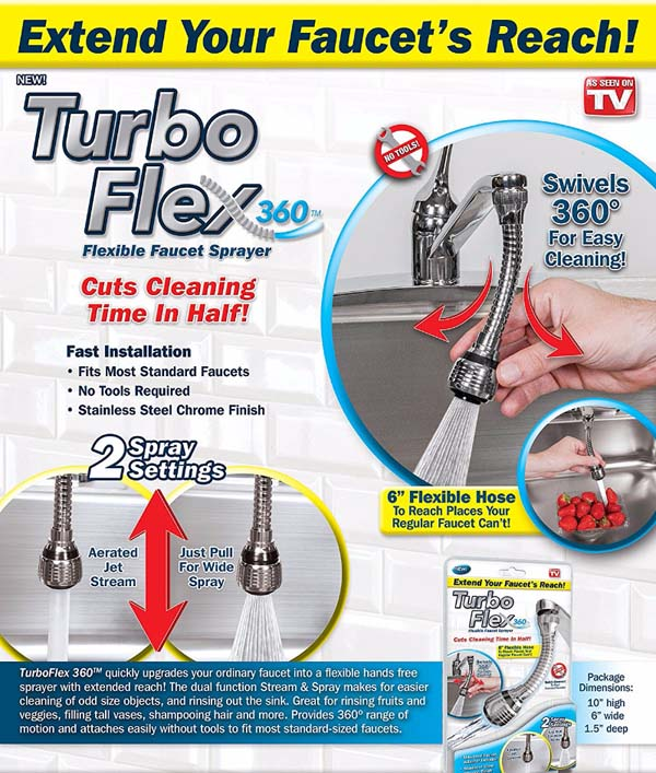 Vòi xịt tăng áp xoay 360 độ Turbo Flex