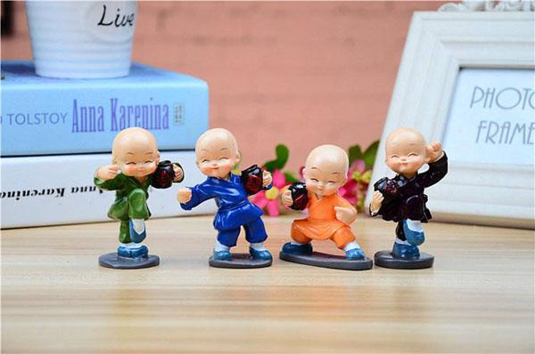 Bộ 4 tượng chú tiểu múa túy quyền