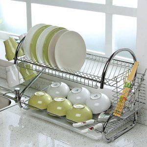 Giá úp bát đĩa 2 tầng inox có khay hứng nước