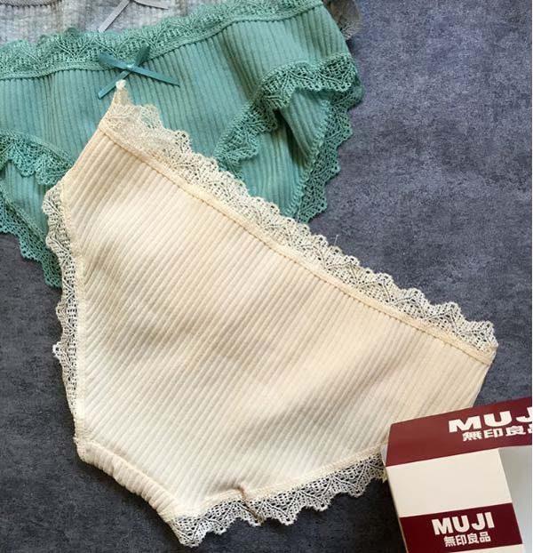 Bán sỉ hộp 4 quần lót muji xuất nhật viền ren mẫu mới