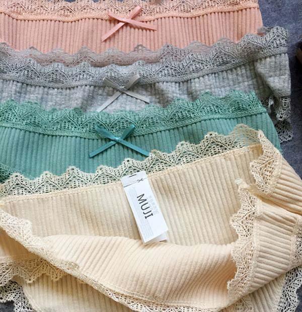 Bán buôn hộp 4 quần lót muji xuất nhật viền ren mẫu mới