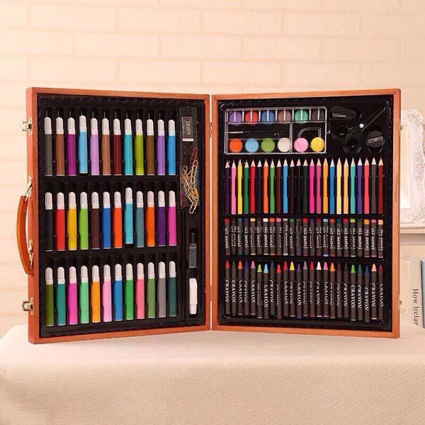 Hộp bút chì màu 150 món hộp gỗ
