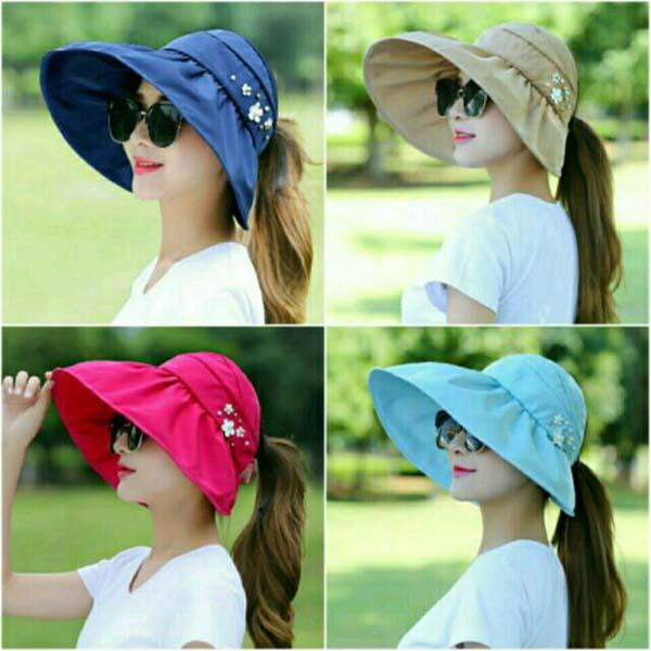 Mũ chống nắng vành rộng đính hoa