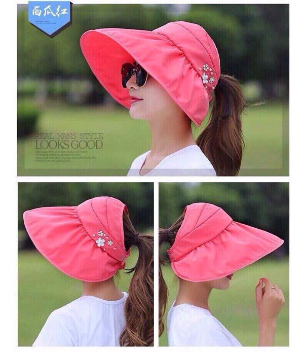 Bán buôn mũ chống nắng vành rộng đính hoa