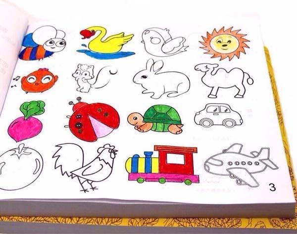 Bán buôn sách tô màu 10000 hình kèm 12 bút màu cho bé