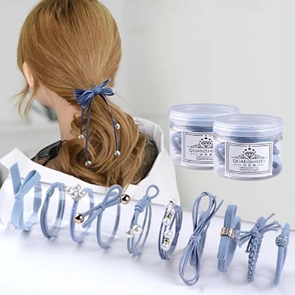 Hộp 12 dây buộc tóc cá tính cho bạn gái
