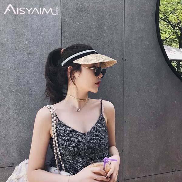 Mũ cói không chóp thời trang chống nắng