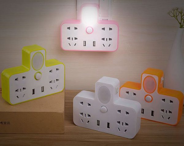 Ổ cắm điện đa năng kiêm đèn ngủ 2 cổng usb