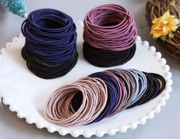 Túi 100 dây buộc tóc nữ nhiều màu