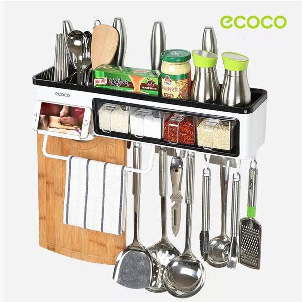 Kệ treo đồ nhà bếp kèm 4 hũ gia vị Ecoco