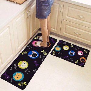 Bộ 2 thảm trải sàn nhà bếp 3D đẹp