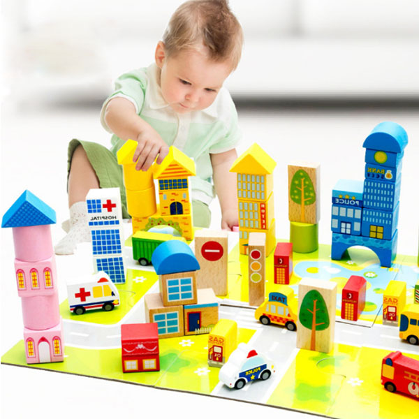Bộ đồ chơi lắp ghép mô hình thành phố bằng gỗ 62 chi tiết