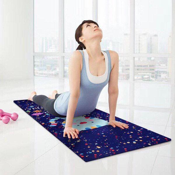 Thảm Yoga TPE hoa văn 2 lớp kèm túi cao cấp
