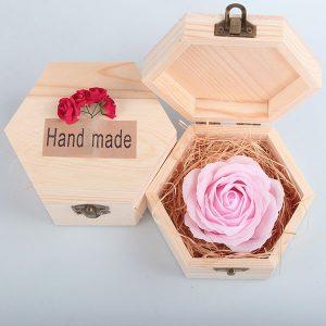 Bán buôn Hoa hồng sáp 1 bông hộp gỗ lục giác