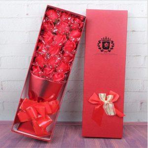 Bán buôn Hoa hồng sáp 18 bông kim tuyến