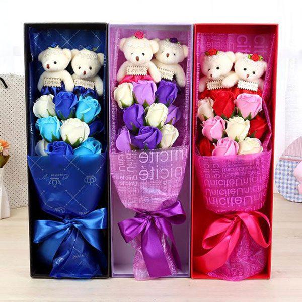 Hộp hoa hồng sáp 9 bông 2 gấu