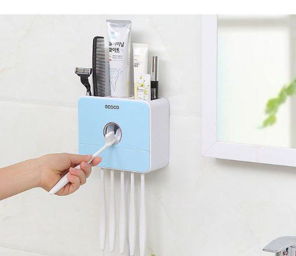 Kệ lấy kem đánh răng đa chức năng Ecoco kèm máy sấy